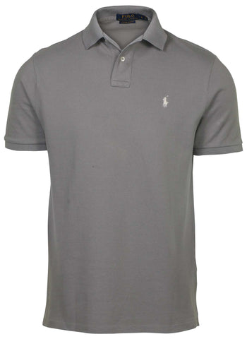 Polo RL Men's Custom Slim Fit Mesh Polo Shirt-Gray