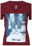Converse Women's Chucks Photo Graphic V-Neck Tee-Burgundy