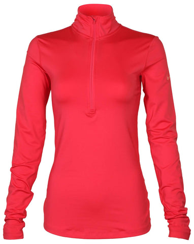 Nike Women's Pro Warm Half Zip LS Training Top-Light Fusion Red
