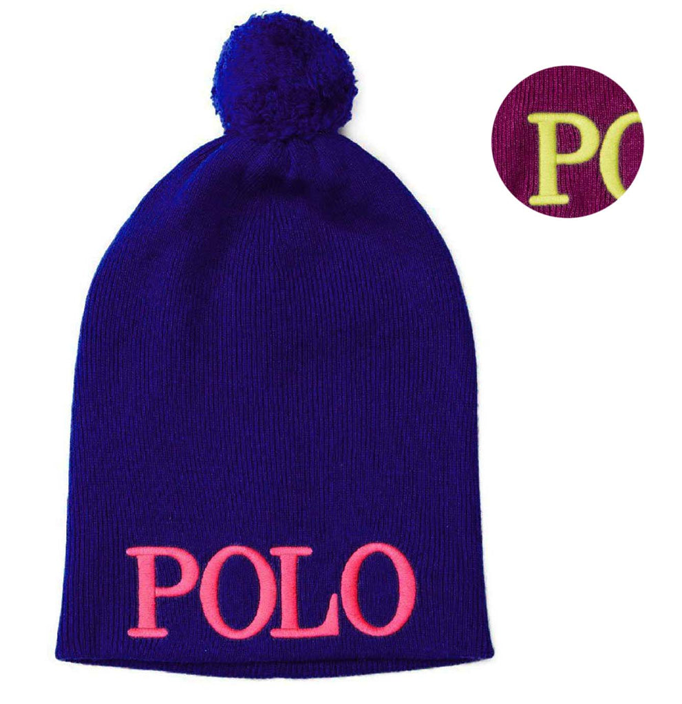 Polo RL Little Girls' (4-6X) Embroidered Knit Pom Beanie