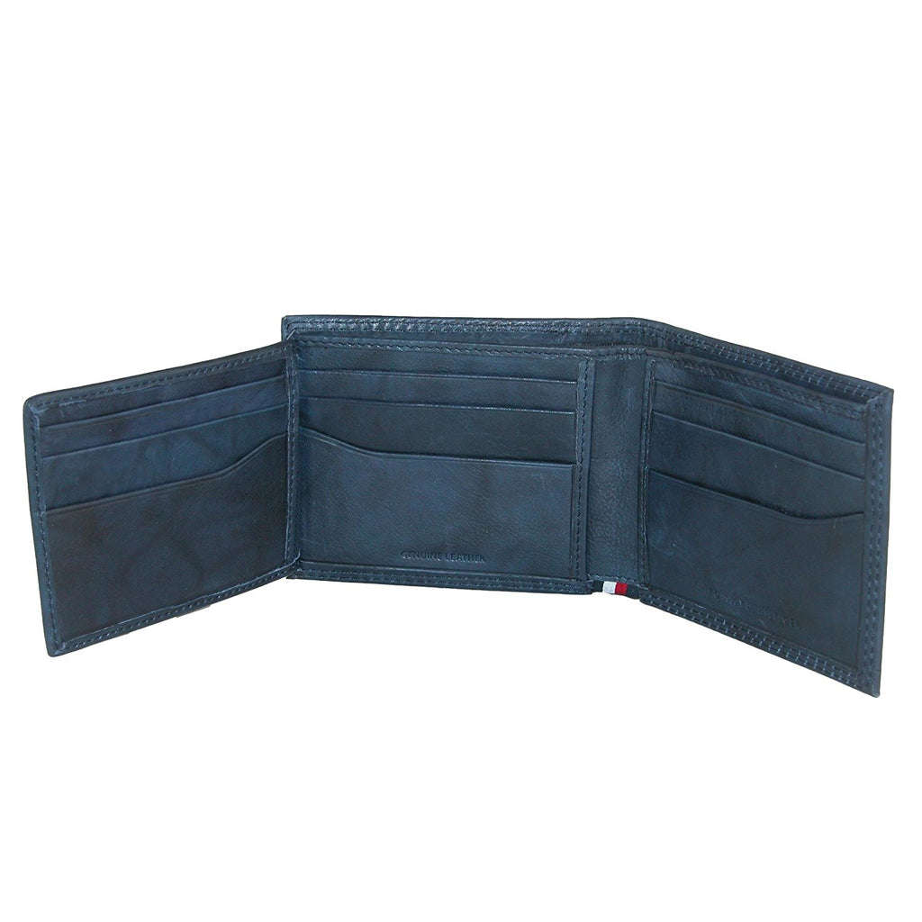 Tommy Hilfiger Men's RFID Blocking Leather Traveler & Valet  Wallet-Blue