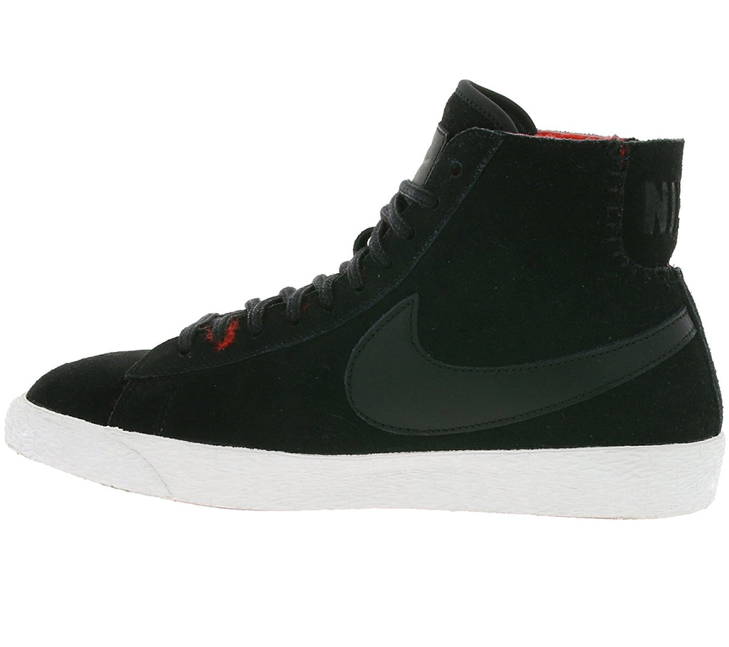 Nike Women's Blaze Mid Premium Suede Basketball Shoes-Black/Black-Actn Red