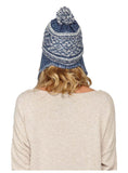 Roxy Juniors Harvest Beanie Hat Cap-Blue/White