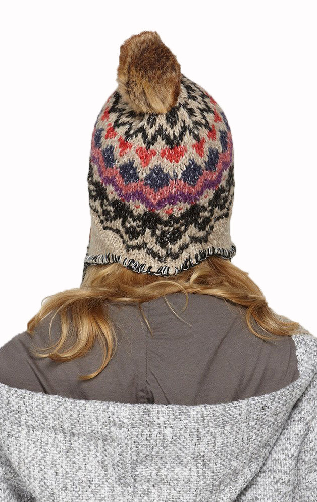 Roxy Juniors Harvest Beanie Hat Cap-Beige/Multi