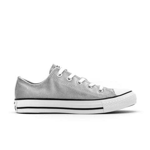 Converse Women's Chuck Taylor All Star Ox Velvet Shoes-Wolf Grey/White