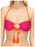 Roxy Juniors Seaswell Adjustable Bandeau Bikini Top-Magenta/Orange
