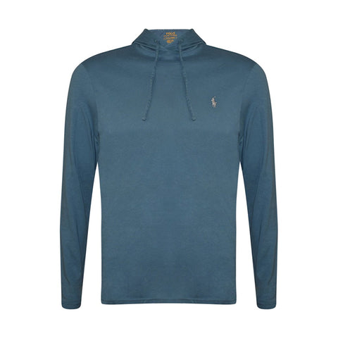 Polo Ralph Lauren Men's Lightweight Pullover Pony Hoodie-Teal Blue