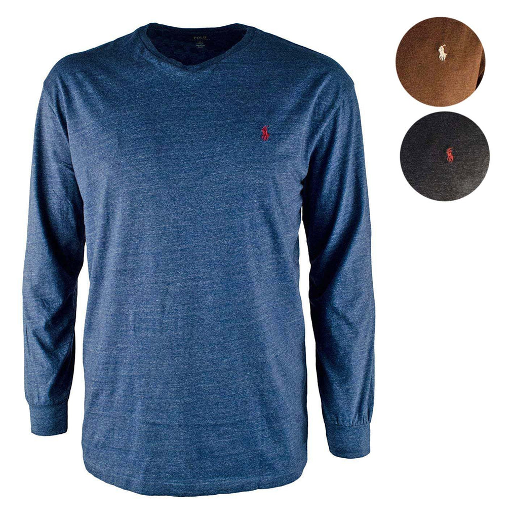ef8f2734abac6 Polo Ralph Lauren Men's Big & Tall Heathered Long Sleeve Pony T-Shirt ...