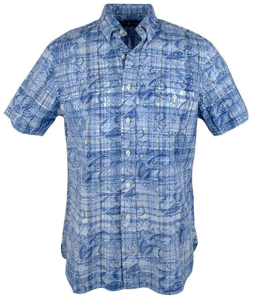85de4cbc Polo Ralph Lauren Men's Big & Tall Plaid And Paisley Pocket Shirt-Navy