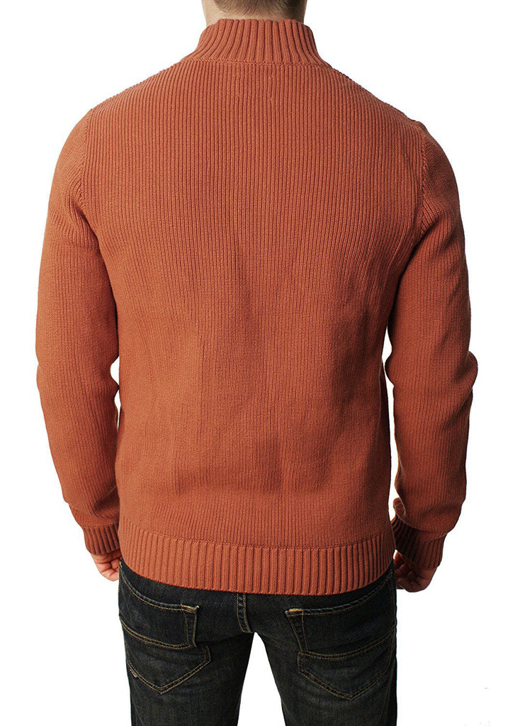 Lucky Brand Jeans Men's Military Mock Sweater-Burnt Henna