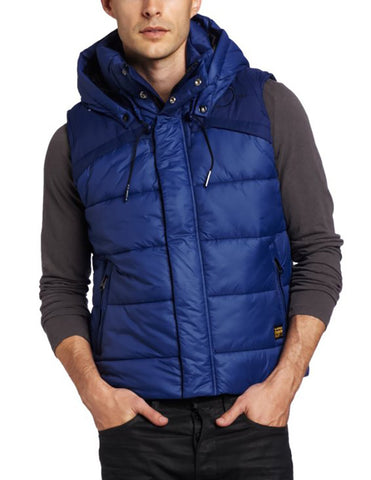 G-STAR Raw Men's Whistler Hooded Bomber Vest-Blue