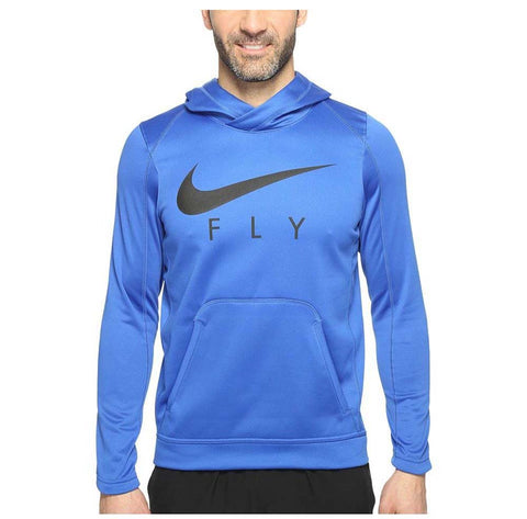 Nike Men's Dri-Fit Fly Pullover Basketball Hoodie-Blue