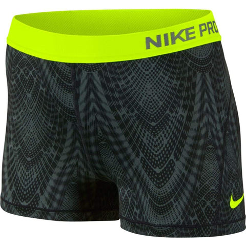 "Nike Women's Dri-Fit Pro 3"" Training Shorts-Black/Volt"