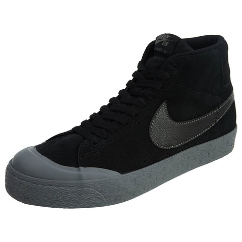 Nike Men's SB Blazer Zoom Mid XT Skateboarding Shoes-Black/Metalic Pewter