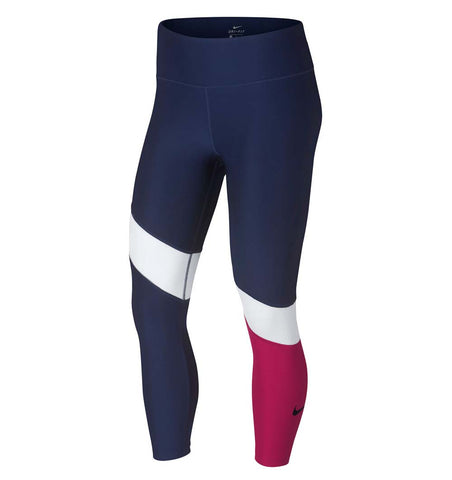 Nike Women's Power Tipoly Crop Pants-Navy/White/Magenta