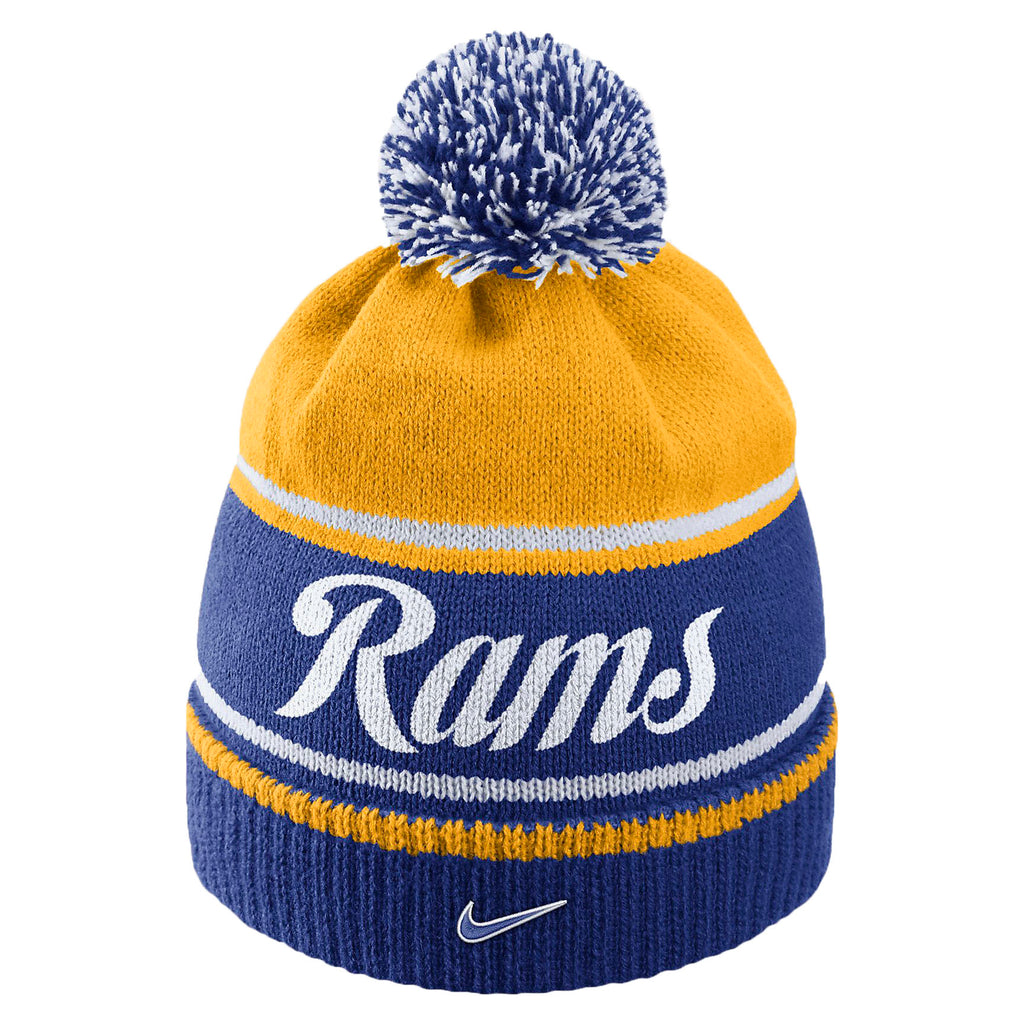 Nike Unisex Historic NFL Rams Knit Beanie Hat-Old Royal/University Gold
