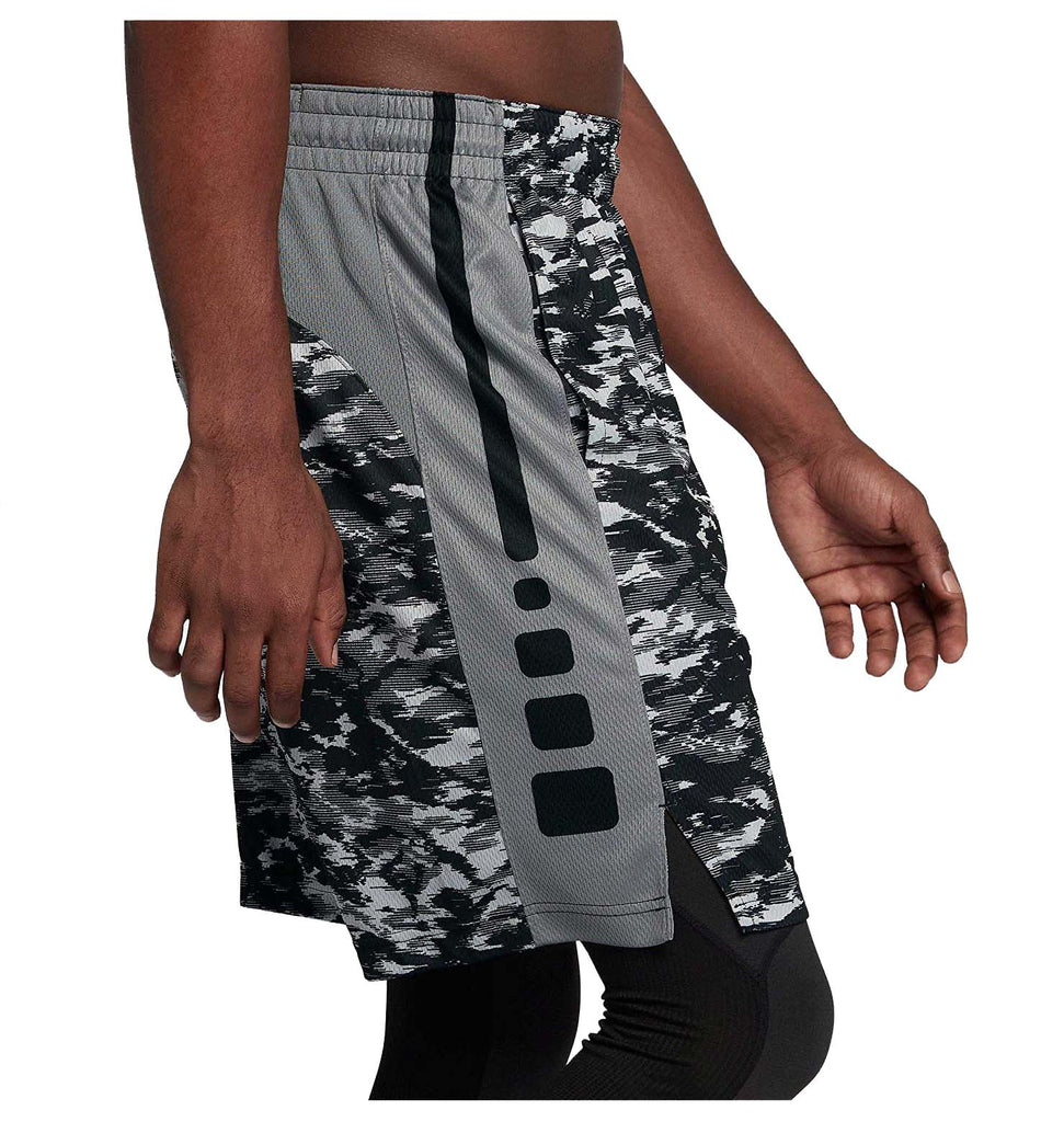 Nike Men's Dri-Fit Elite Stripe Plus Basketball Shorts-Cool Grey/Black