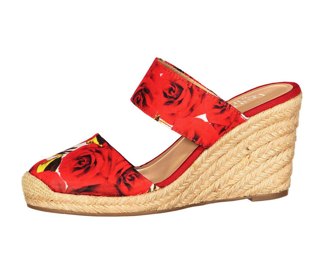 Franco Sarto Women's Fabric Slide Espadrille Wedges-Red Rose