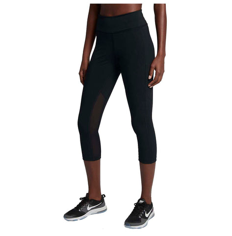 Nike Women's Power Pocket Lux Mid-Rise Training Crop-Black
