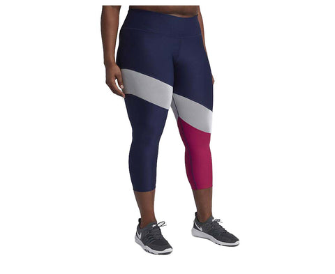 Nike Women's Plus Tipoly Training Crop Tights-Navy/White/Magenta
