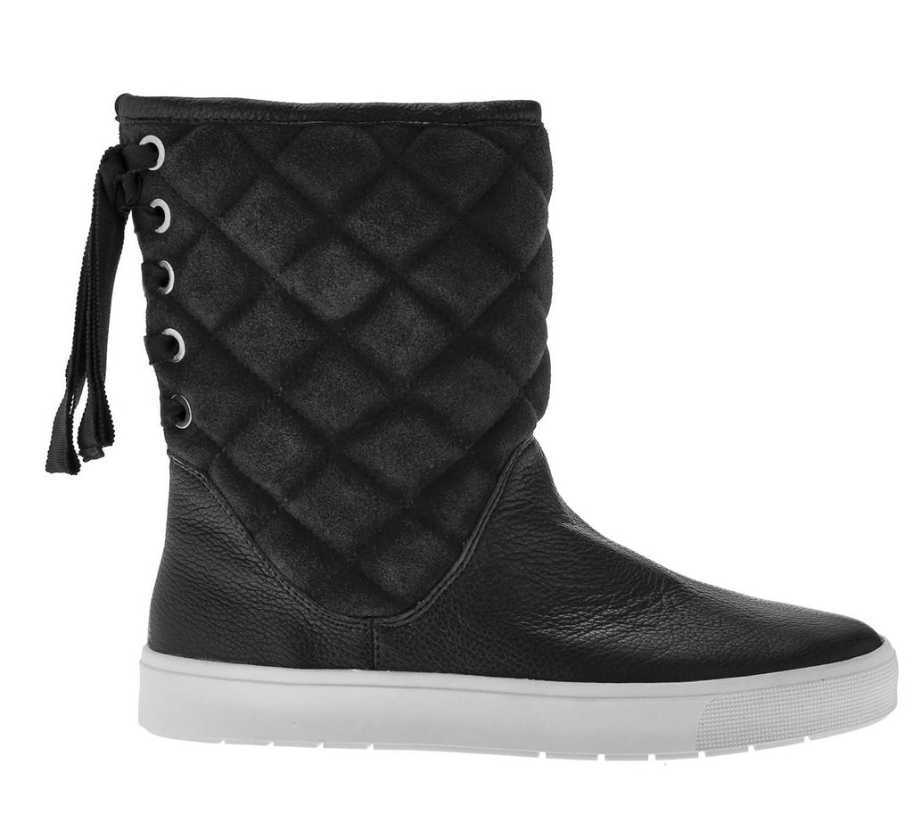 Isaac Mizrahi Live! Women's Alma Quilted Boots W/ Ribbon Detail-Black