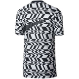 Nike Men's Sport Casual Allover Print VW Swoosh T-Shirt-Black/White