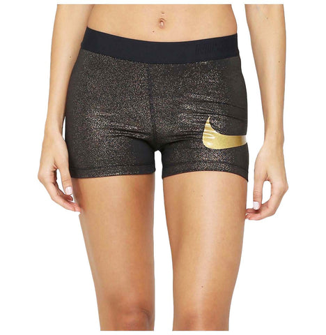 "Nike Women's Training Pro 3"" Sparkle Shorts-Black/Metallic Gold"