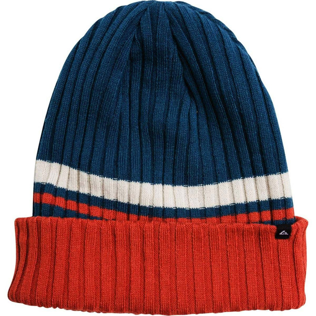 Quiksilver Men's Lesgo Striped Beanie-Blue/Rusty Orange