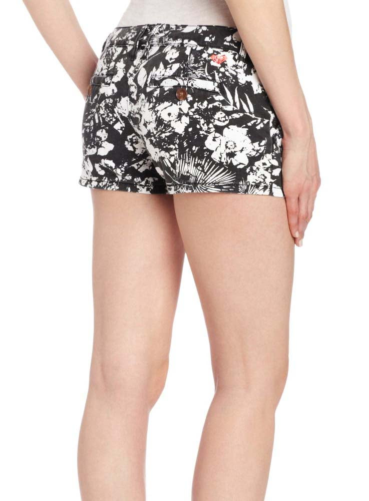 Roxy Juniors To The Top Floral Shorts-Black/White