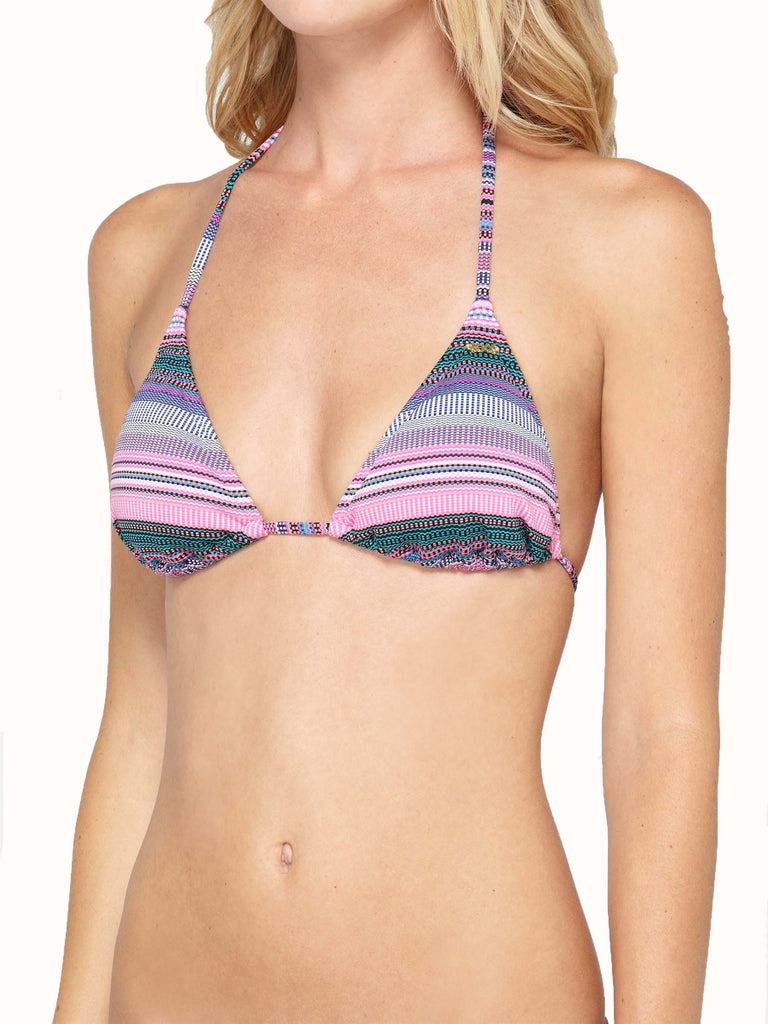 Roxy Juniors Coastal Switch Tiki Tri Bikini Top-Multi-Color