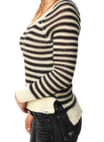 Roxy Juniors Starboard Long Sleeve Scoop Neck Sweater-Black/White stripe