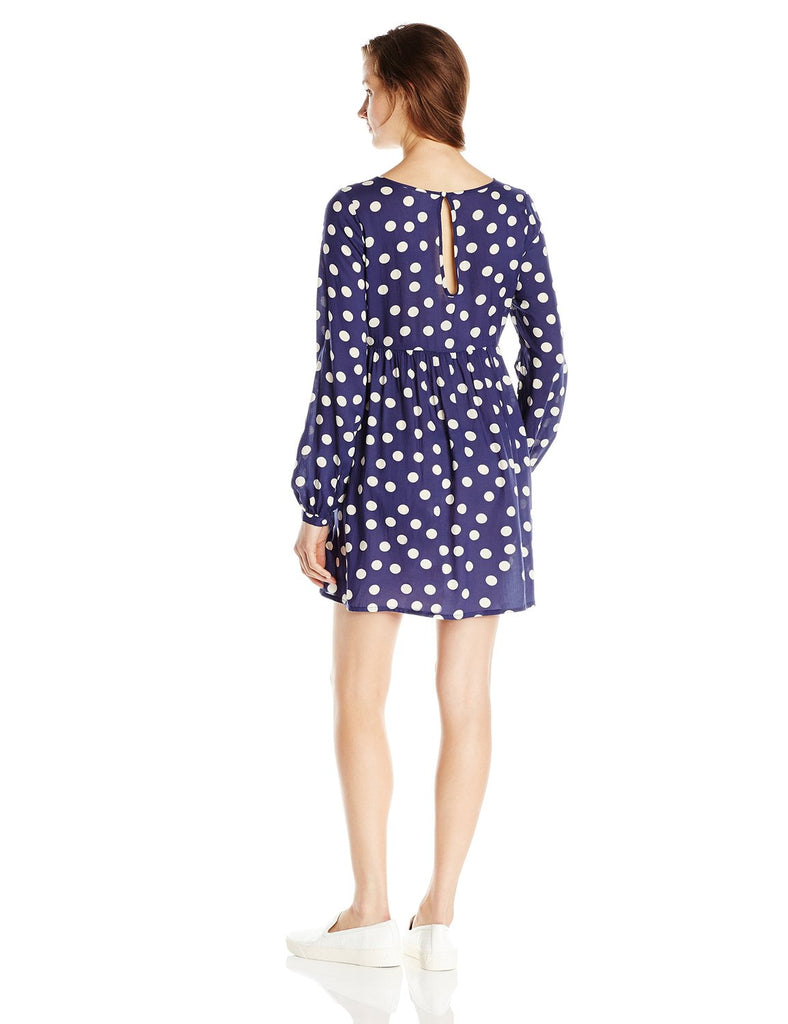 Roxy Juniors Sun Empire Woven Long Sleeve Dress-Navy