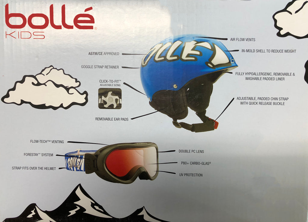 Bolle Kids Snow Ski Snowboard Sledding Helmet Goggle Combo Pack Adjustable Size