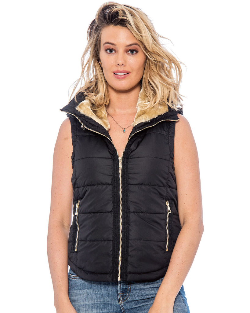 TR Juniors Sherpa Puffer Vest with Faux-Fur Collar by 9 Crowns Essentials