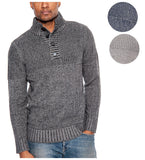 TR Men's Textured Rib Sweater with Placket by 9 Crowns Essentials
