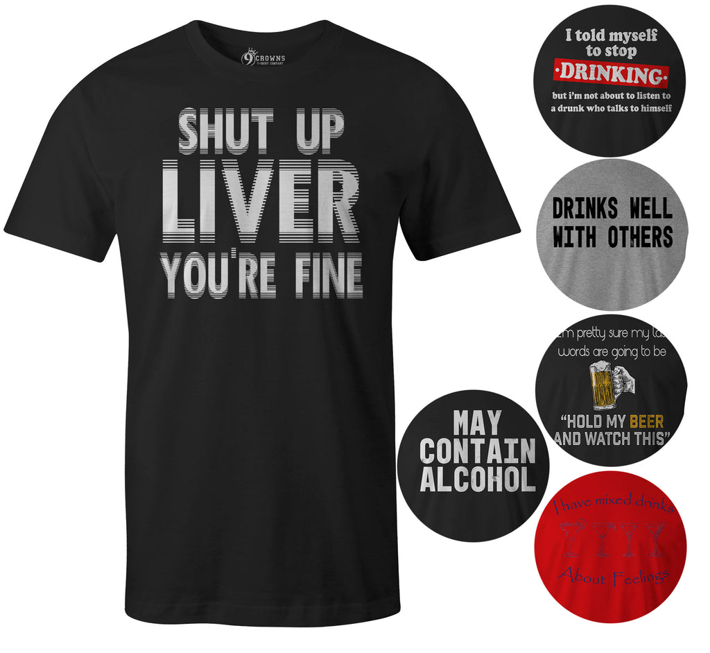 9 Crowns Tees Men's Awesome Funny Drinking Alcohol Graphic T-Shirts