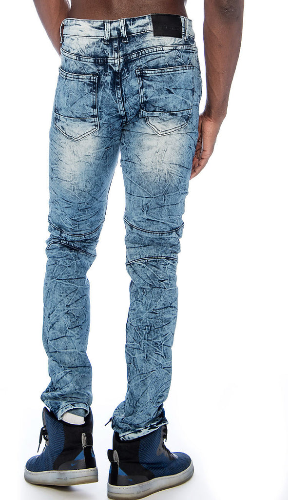 Men's Distressed Stretch Slim Fit Moto Denim Jeans 9 Crowns