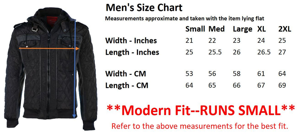Mens Winter Coat Quilted Puffer Jacket with Removable Hood by 9 Crowns essentials