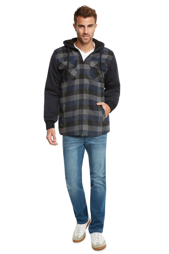 9 Crowns Essentials Sherpa Lined Plaid Flannel Hoodie Jacket