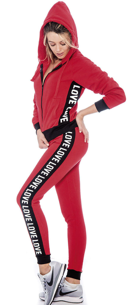9 Crowns Essentials TR Juniors Foxy Love Stripe Fleece Sweat Suit