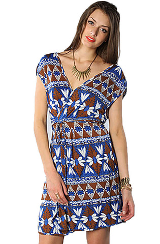 Quiksilver Juniors Island Geo Wrap Dress-Blue/Brown