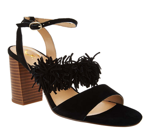 C. Wonder Women's Gabrielle Suede Block Heel Sandals-Black