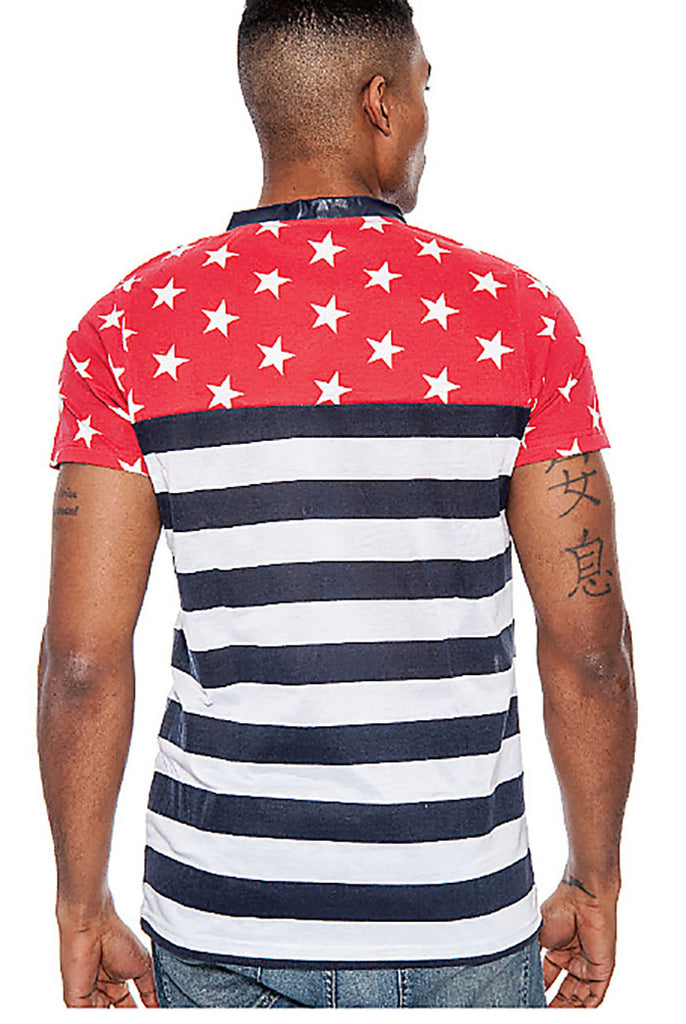 True Rock Slim Fit USA American Flag V-neck T-Shirt