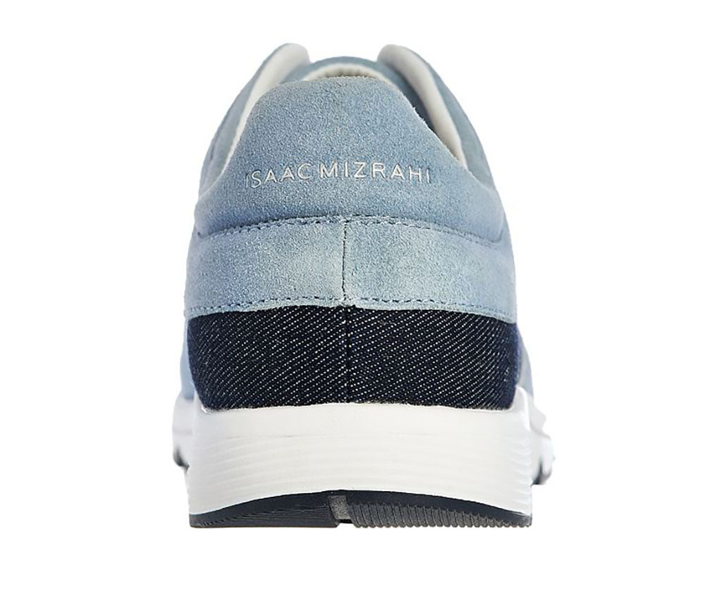 Isaac Mizrahi Live! Women's Happening Leather Lace Up Sneakers-Vintage Denim