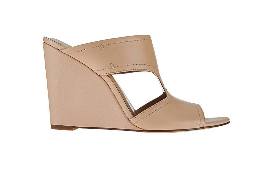 H by Halston Holly Open Toe Cut Out Leather Mules-Nude