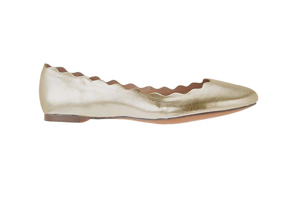 G.I.L.I. Women's Izzy Scalloped Leather Ballet Flats-Gold