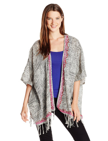 Billabong Juniors Wandering Wavez Woven Open Cardigan-White