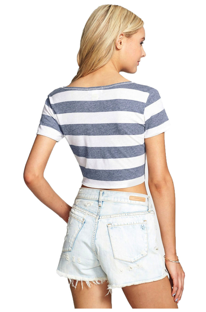 Billabong Juniors Before Me Striped Knot Crop T-Shirt-Peacoat/White