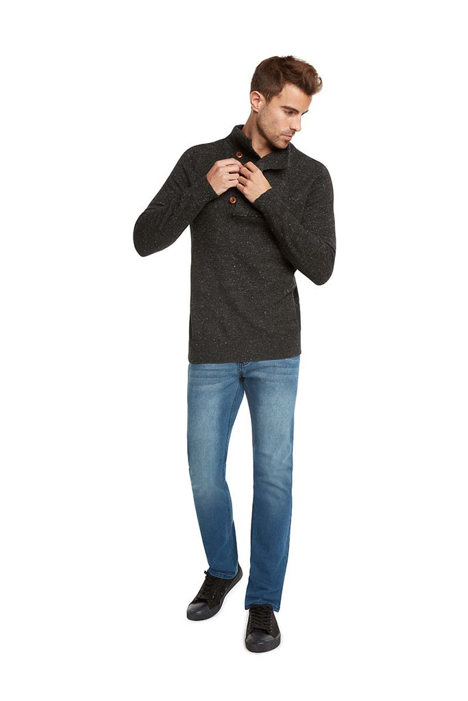 Microknit Placket Cardigan by Orlando Bloom for Jack & Jones-Charcoal