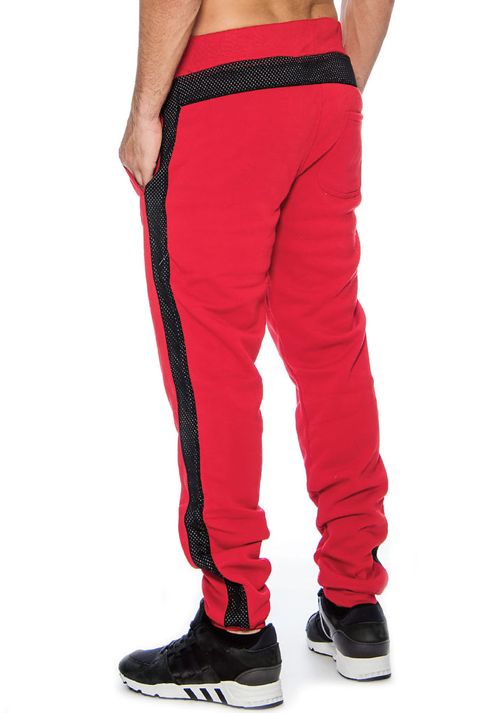 9 Crowns Essentials TR Men's Slim Fit Mesh Panel Fleece Jogger Pants
